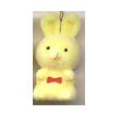 HUGE Funky Fuzzy BUNNY PENDANT NECKLACE - Cute Mini Easter Spring Garden Rabbit Toy Pet Costume Jewelry - Adorable Pastel YELLOW Flocked Plastic Miniature Animal Charm, approx. 1.25-inch (3.13cm) Tall on 18-inch (45cm) Neck Chain with safety clasp.