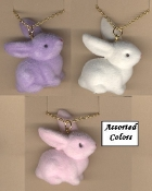 Funky Fuzzy BUNNY PENDANT NECKLACE Miniature Spring Garden Easter Rabbit Toy Mini Birthday Party Favor Costume Jewelry. Large Flocked Plastic Charm, approx. 1.5-inch (3.75cm) Tall on 18-inch (45cm) Chain. Choose Pastel PINK, Lavender PURPLE, WHITE.