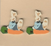 BUNNY with Carrot BUTTON EARRINGS-Easter Rabbit-WOOD Garden Jewelry