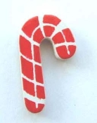 Small Wood CANDY CANE PIN BROOCH - Crafts Xmas Button Holiday Jewelry