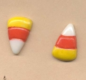 CANDY CORN BUTTON EARRINGS - Halloween Pumpkin Jewelry - Colorful, original Orange, White and Yellow Plastic Buttons.
