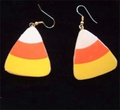 "Huge 1-5/8"" CANDY CORN EARRINGS - Halloween Fun Foam Costume Jewelry"