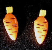 Miniature Carrot Button Stud Post Earrings - Plastic Garden Vegetable Charm - 2- 'KARAT' !!!