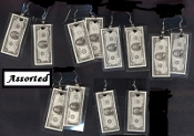 Funky MONEY $$$ CASH USA DOLLAR BILL EARRINGS - Shopping Jewelry - 1-pair, chosen from assorted. Shop til you Drop!