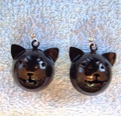 CAT BELL EARRINGS-BLACK-Halloween-Witch-Charm Jewelry