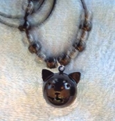 CAT BLACK BELL NECKLACE-Gothic Witch Halloween Costume Jewelry