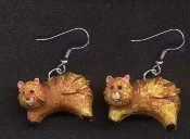 Tiny 3D CAT EARRINGS - Miniature Orange Tabby Pet Kitty Charm Jewelry