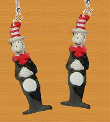 Funky CAT in the HAT EARRINGS - Mini Dr Seuss Full Body Naughty Kitty Costume Jewelry