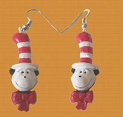 Dr Seuss Charm Mini CAT in the HAT HEAD EARRINGS - Naughty Dr Suess Costume Movie Book Funky Jewelry - Cute, detailed, handpainted 3-dimensional resin miniature charm ornament. Whimsical mischievious feline charms, each approx. 1-3/8-inch tall.