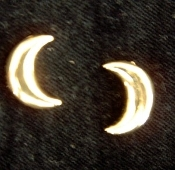 Golden Celestial Crescent Moon Earrings - Gold-tone Button Post Stud Jewelry
