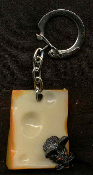 CHEESE WEDGE & MOUSE KEYCHAIN - HUGE Vintage Vending Funky Food Charm Jewelry
