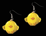Huge Yellow CHICK EARRINGS - Country Baby Bird Farm Animal Toy Charm Jewelry