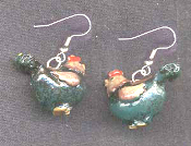 Tiny 3D ROOSTER HEN CHICKEN EARRINGS - Country Farm Bird Animal Jewelry