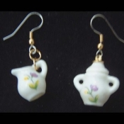 SUGAR BOWLS & CREAMER EARRINGS - Ceramic China Jewelry Set
