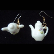 TEA POT EARRINGS - Genuine Ceramic China Miniature Doll Toy Jewelry