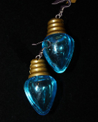 HUGE Fun Christmas Tree Holiday Faux LIGHT BULB EARRINGS - BLUE Stocking Stuffer Jewelry