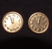 CLOCK FACE BUTTON POST EARRINGS - Gold-tone Vintage Brass - Does anybody know what time it is
