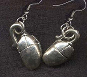 COMPUTER PC MOUSE EARRINGS - Office Internet Novelty Jewelry - Pewter Charm