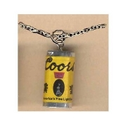 Funky Mini COORS LIGHT BEER CAN PENDANT NECKLACE - Cocktail Waitress Waiter Bartender Punk Food Sports Bar Drink Charm Costume Jewelry - Miniature Metallic Paper-covered, Plastic Dimensional BEER CAN charm, approx. 1-inch (2.5cm) high