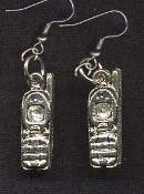 Pewter Charm PHONE EARRINGS - Cordless or Cell Telephone Jewelry
