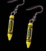 Mini CRAYOLA CRAYONS EARRINGS - Colorful Plastic Charms Jewelry -YELLOW