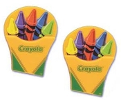 Box of CRAYOLA CRAYONS EARRINGS - BIG, Colorful Plastic Button Charms Jewelry