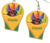 Box of CRAYOLA CRAYONS DANGLE EARRINGS - BIG, Colorful Plastic Charms Jewelry