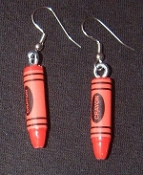 Mini CRAYONS EARRINGS - Great Art Teacher Gift - Artist Drawing Charm Jewelry -RED