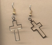 Open CROSS EARRINGS - WWJD - Quinceanera / Communion / Confirmation / Graduation Gift Vintage Charm Jewelry