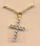 CROSS PENDANT NECKLACE-Pretty Rhinestone Christian Charm Jewelry