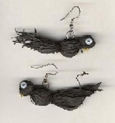 MINI CROW RAVEN BLACK BIRD EARRINGS - RAFFIA - Autumn Fall Scarecrow Jewelry