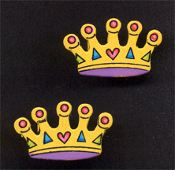 CROWN WOOD BUTTON EARRINGS - Colorful Queen Princess Royalty Jewelry