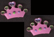 CROWN JEWEL BUTTON EARRINGS - Colorful Queen Princess Royalty Jewelry -PINK