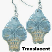 Big Funky Translucent CRYSTAL SKULL EARRINGS - Gothic Punk Pirate Mardi Gras INDIANA JONES Halloween Costume Charm Jewelry