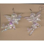 Huge CUPID CHERUB with FLUTE EARRINGS - Baby ANGEL Jewelry - IRRIDESCENT