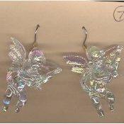 Huge CUPID CHERUB with GUITAR EARRINGS - Baby ANGEL Jewelry -IRRIDESCENT