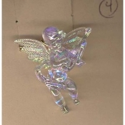 Big Funky CUPID CHERUB PLAYING MANDOLIN GUITAR PENDANT NECKLACE - Seasonal Spiritual Holiday Heavenly Baby ANGEL Music Teacher Musician Novelty Costume Jewelry - Large Acrylic Crystal Plastic Iridescent Aurora Borealis Musical Theme Charm Mini Figure