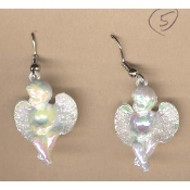 CUPID CHERUB EARRINGS - Baby ANGEL Love Charm Jewelry - PATIENT - Irridescent White Faux Pearl Acrylic Plastic Charm, approx. 1-inch (2.5cm) diameter.