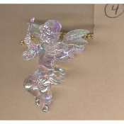 Huge Funky CUPID CHERUB PLAYING VIOLIN PENDANT NECKLACE - Big Seasonal Spiritual Holiday Heavenly Baby ANGEL Music Teacher Musician Novelty Costume Jewelry - Large Acrylic Crystal Plastic Iridescent Aurora Borealis Musical Theme Charm Mini Figure
