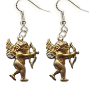 CUPID CHERUB ANGEL AIMING BOW & ARROW EARRINGS - Gold-tone Brass Love Charms Jewelry