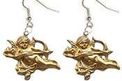 CUPID CHERUB ANGEL FLYING BOW & ARROW EARRINGS -Gold-tone Brass Love Charms Jewelry