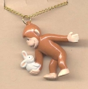 CURIOUS GEORGE PENDANT NECKLACE w-BUNNY-Monkey Toy Charm Jewelry