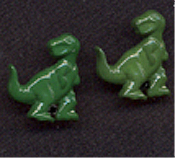 Small TYRANNOSAURUS REX BUTTON EARRINGS - T-Rex Dinosaur Charm -GREEN