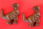 Large TYRANNOSAURUS REX BUTTON EARRINGS - T-Rex Dinosaur Charm -BROWN