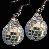 HUGE Funky Genuine Mini DISCO MIRROR BALL EARRINGS-Novelty Dance Club Retro DJ Jewelry-BIG realistic punk EMO silver mirrored GLASS sphere dimensional charm, including metallic plastic Fancy Bead Cap.