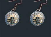 Cute Genuine Mini DISCO MIRROR BALL EARRINGS - Novelty Dance Club Retro DJ Jewelry - BIG Funky realistic, punk EMO silver mirrored GLASS sphere charm, approx. 3/4-inch diameter balls. Great for any party celebration