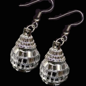 "Cute Genuine Mini DISCO MIRROR BALL EARRINGS - Novelty Dance Club Retro DJ Party Jewelry - Funky realistic punk EMO silver mirrored GLASS sphere charm, approx. 3/4"" diameter balls. 1"" (4cm) tall total length with metallic plastic Fancy Bead Cap."