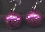 DISCO BALL EARRINGS - Bright Pink - Large Novelty Dance Club / Retro Disco Jewelry - BIG Funky Metallic