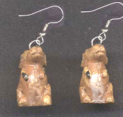 Tiny 3-D DOG EARRINGS - Miniature Brown House Pet Puppy Charm Jewelry