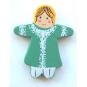 Irish Lassie DOLL GREEN DRESS BUTTON PIN BROOCH - St Patrick's Day Painted Wood Christmas Jewelry
